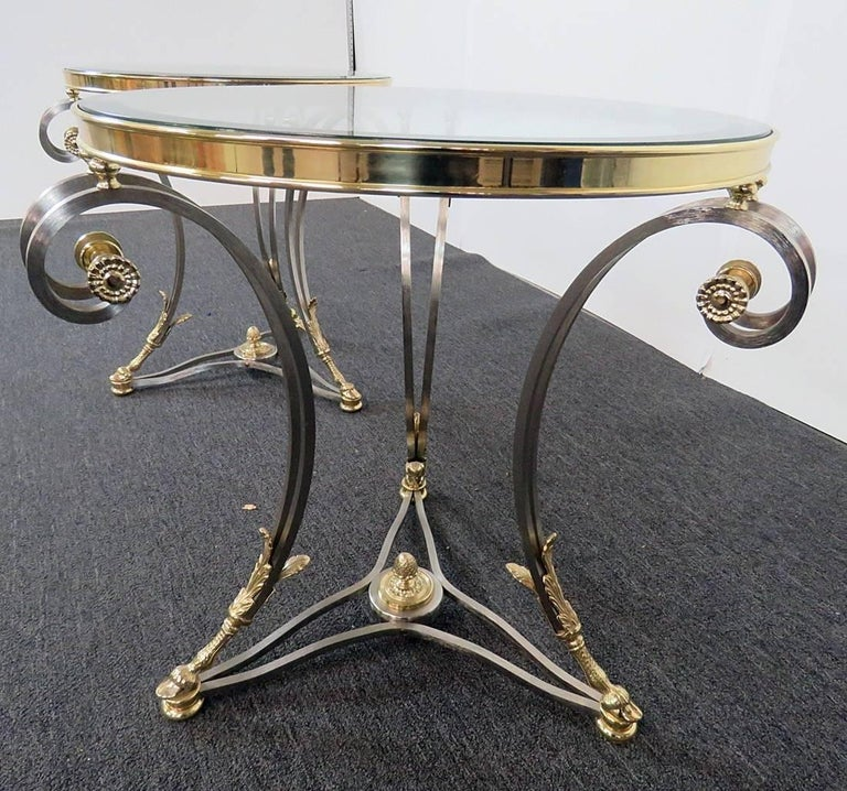 Regency Pair Round Brass & Steel Jansen Style Glass Top Gueridons Occasional End Tables  For Sale