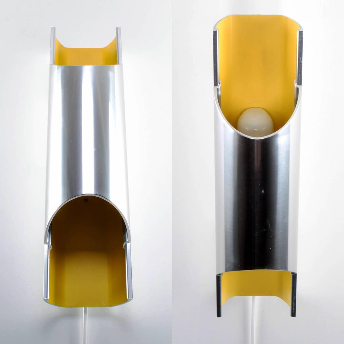Yellow Wall Sconces : Pandean Sconce by Bent Karlby in 1970, Attractive Yellow and Aluminum Wall Lamp For Sale at 1stdibs