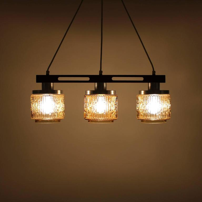 amber glass hanging light-fixture, 1960s, scandinavian mid-century