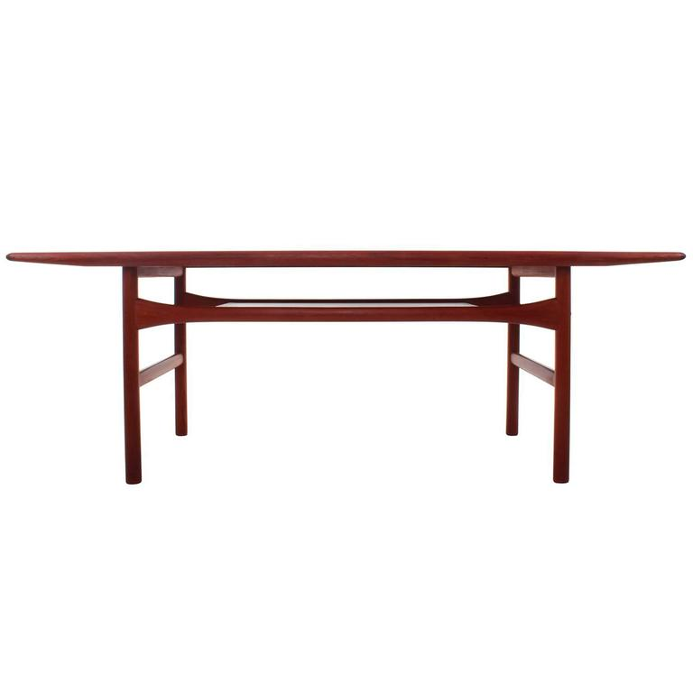 Scandinavian Modern Teak Coffee Table With Shelf Andreas Hansen Arrebo 1960s At 1stdibs
