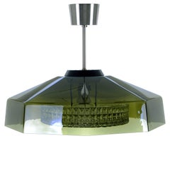 Orrefors Semi-Flush, Emerald Crystal Glass and Aluminium by Lyfa / Orrefors