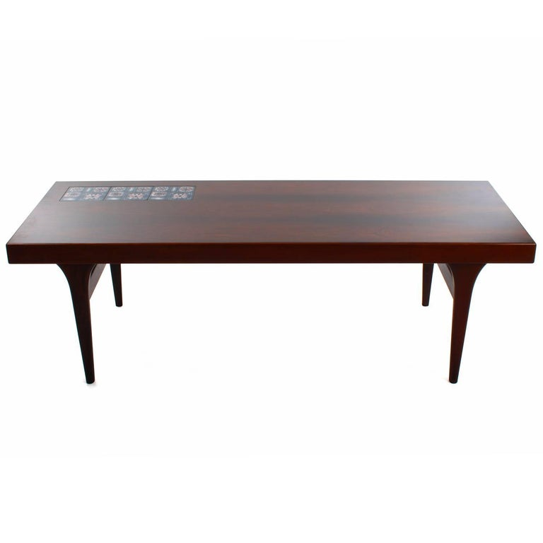 Porcelain Rosewood Coffee Table with Tiles by Johannes Andersen, CFC Silkeborg, 1960s For Sale