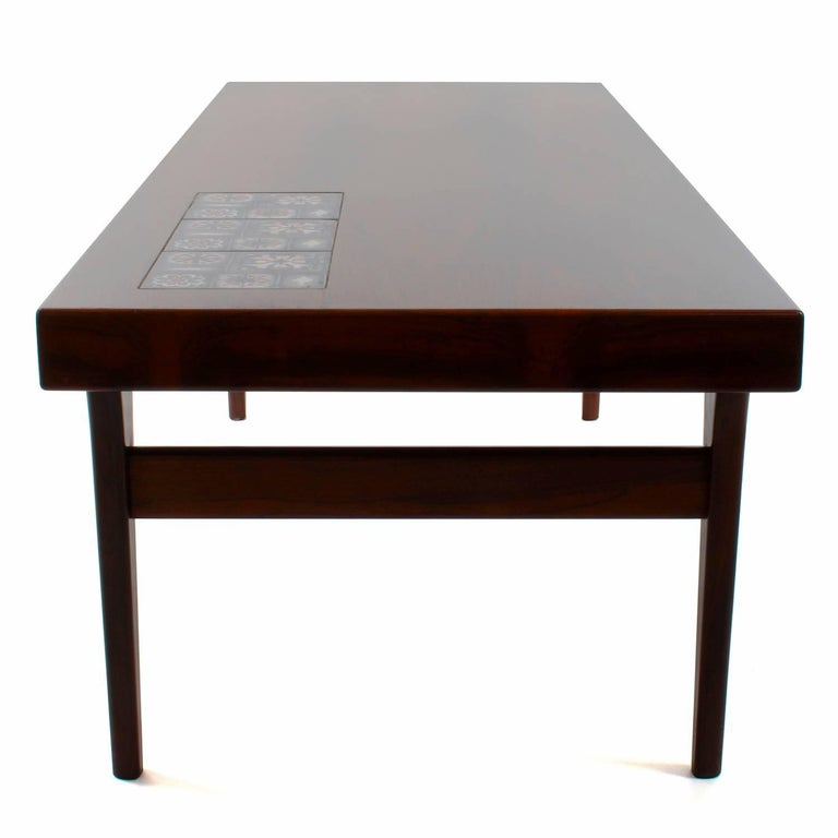 Rosewood Coffee Table with Tiles by Johannes Andersen, CFC Silkeborg, 1960s For Sale 1