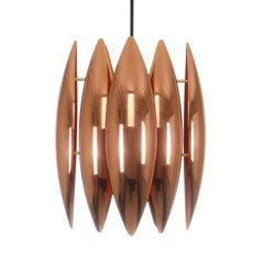 Kastor, Copper Pendant by Jo Hammerborg, Fog & Mørup, 1969. Danish Vintage Lamp
