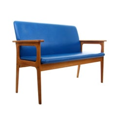 Two-Seat Sofa by Erik Buch, 1970s, Oil-Treated Oak Couch with Blue Upholstery