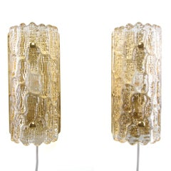 Gefion Sconces 'Pair', Crystal Glass Wall Lights by Lyfa/Orrefors, 1960s