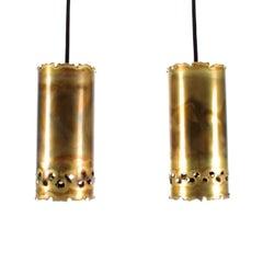 Brutalist Brass Pendant Pair by Holm Sorensen, 1960s Cute Pair of Lamps