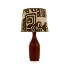 TEAK TABLE LIGHT, large Danish teak lamp stand, 1960s. Vintage shade included