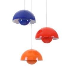 FLOWERPOT by Verner Panton, Louis Poulsen, 1968. Vintage orange enameled pendant