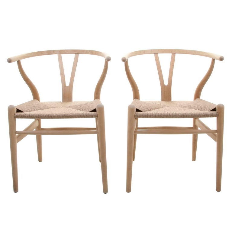 ch24 wishbone chairs by hans j wegner for carl hansen and son in 1949 pair for sale at 1stdibs. Black Bedroom Furniture Sets. Home Design Ideas