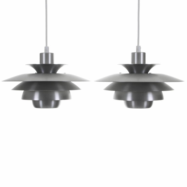 Alexia aluminium pendant pair by jeka 1980s danish modern alexia aluminium pendant pair by jeka 1980s danish modern ceiling lighting for sale mozeypictures Image collections