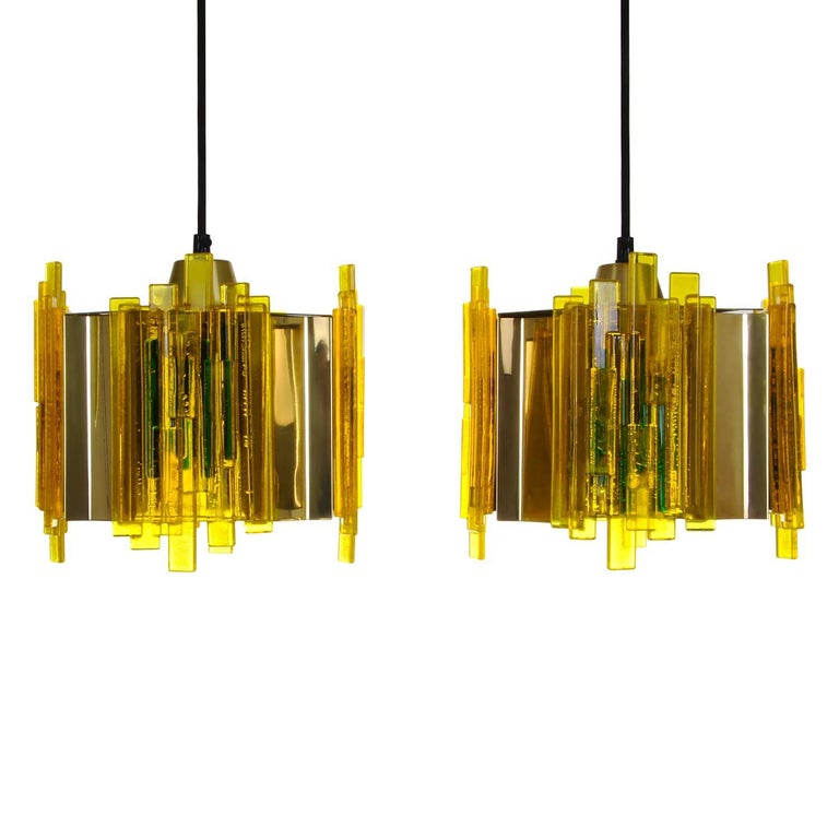 Yellow Plexiglas Pendant Pair by Claus Bolby, Cebo Industri, 1970s