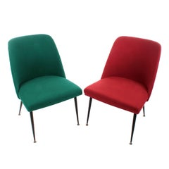 Pair of Chairs, circa 1950s Scandinavian Modern Recliners with Fabric Upholstery