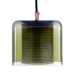 Orrefors Square Pendant Light by Lyfa/Orrefors, 1960s Rare Green Crystal Light