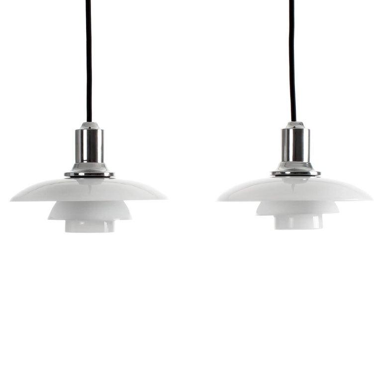 PH 2/1 Pair, Glass Pendant Lights by Poul Henningsen, 1930s, Louis Poulsen