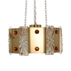 Prism Pendant by Vitrika, 1970s Brass Ceiling Light with Pressed Glass
