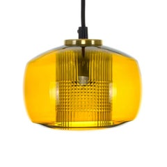 Amber Crystal Glass Pendant Light, 1960s Vintage Crystal Ceiling Light
