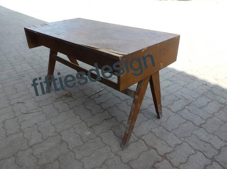 Wood Pierre Jeanneret, Student Desk for Education Buildings in Chandigarh For Sale