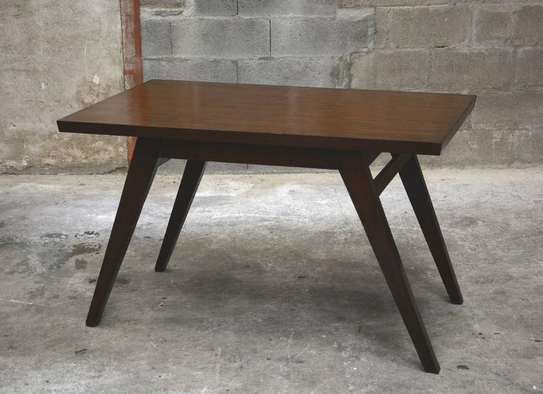 Pierre Jeanneret, dining table for the Himalayan Mess hostel PJ-TA-03-B in Chandigarh, India. See photo before restoration when I buy it in Chandigarh.