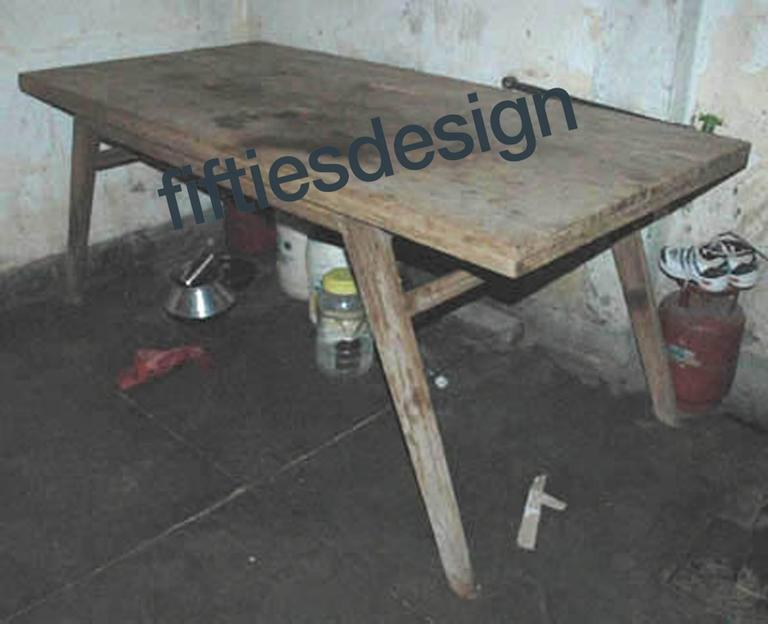 Wood Pierre Jeanneret, Dining Table for the Himalayan Mess Hostel in Chandigarh For Sale