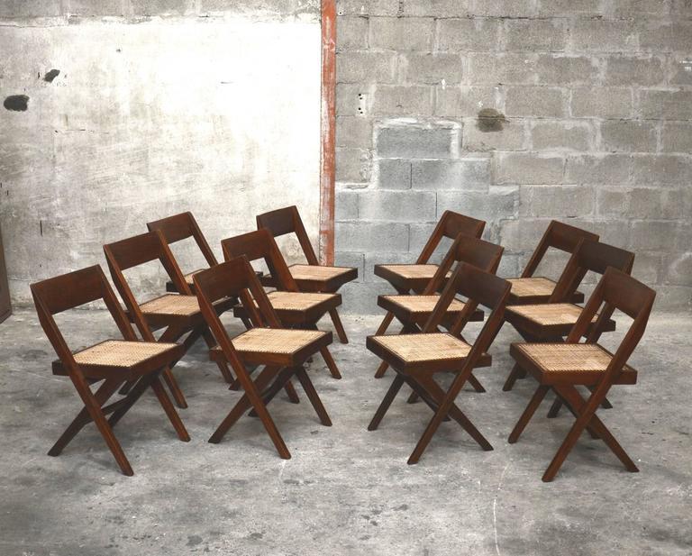 Pierre Jeanneret Unique Set of 12 Library Chairs 2