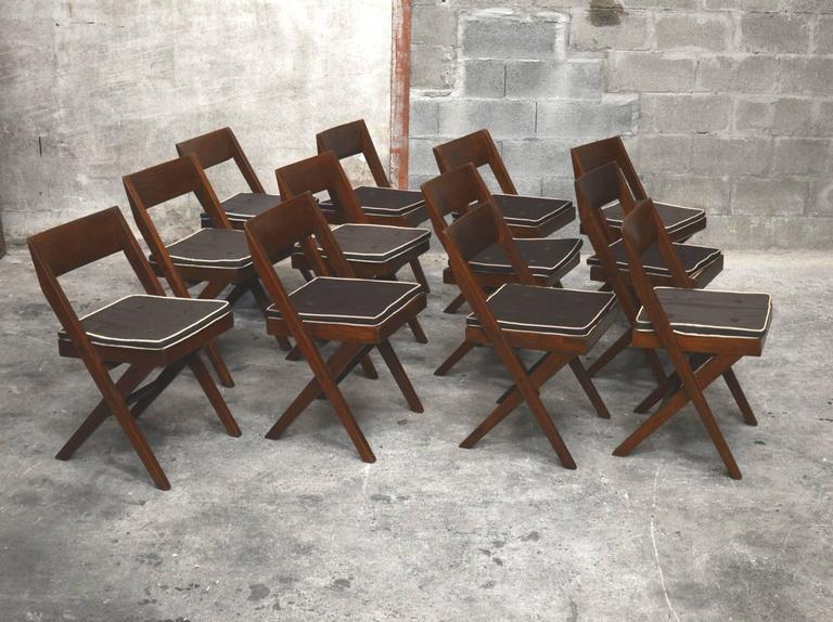 Pierre Jeanneret Unique Set of 12 Library Chairs 3