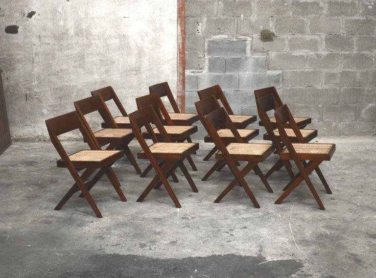 Pierre Jeanneret Unique Set of 12 Library Chairs 4