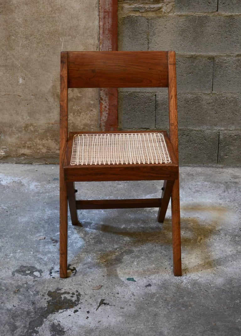 Pierre Jeanneret Unique Set of 10 Library Chairs In Excellent Condition For Sale In BREST, FR