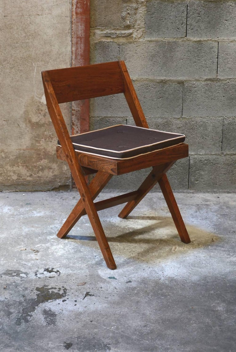 Indian Pierre Jeanneret Unique Set of 10 Library Chairs For Sale