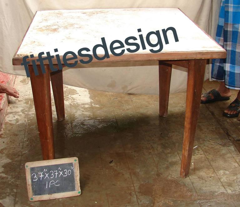 Wood Pierre Jeanneret, Square Table for the Administration Building in Chandigarh For Sale
