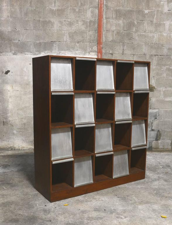 Aluminum Pierre Jeanneret Very Rare Newspaper Bookcase For Sale