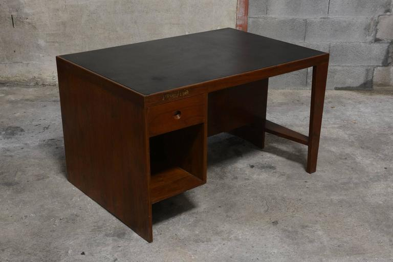 Rosewood Pierre Jeanneret Office Desk with Original Lettering For Sale