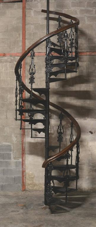 Late 19th Century Colonial Spiral Staircase In Cast Iron. These Old English Victorian  Staircases Are