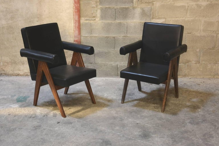 Pierre Jeanneret, set of two Senate Committee chairs from administrative buildings in Chandigarh, India. See photo before restoration when I bought them in Chandigarh,
