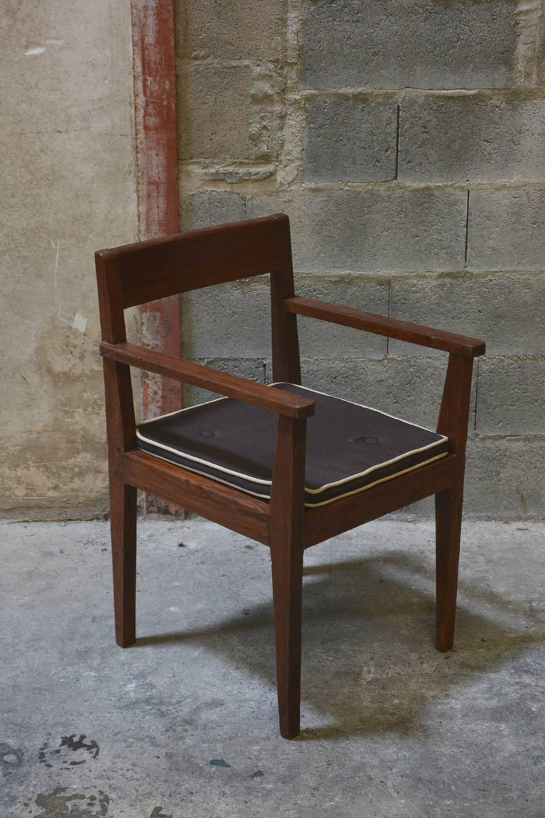 Indian Pierre Jeanneret Take Down Armchair with Original Lettering For Sale
