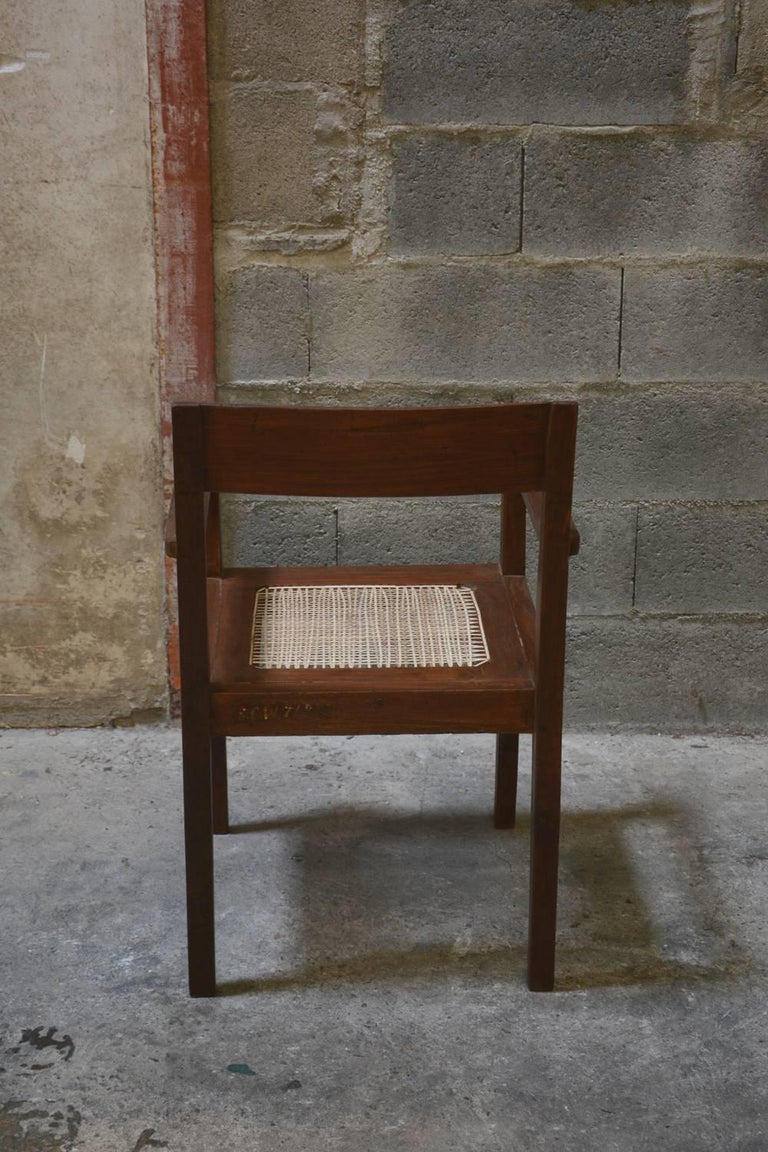 Teak Pierre Jeanneret Take Down Armchair with Original Lettering For Sale