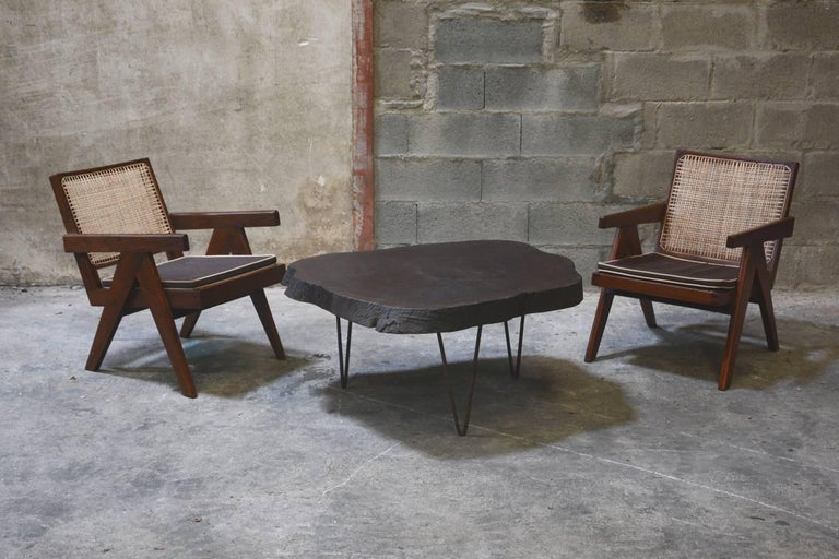 Pair of Pierre Jeanneret cane and teakwood easy armchair from Administrative Building in Chandigarh, India. 
