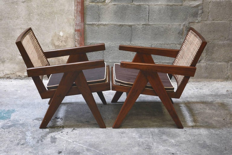 Indian Pierre Jeanneret Pair of Easy Armchairs, circa 1955 For Sale