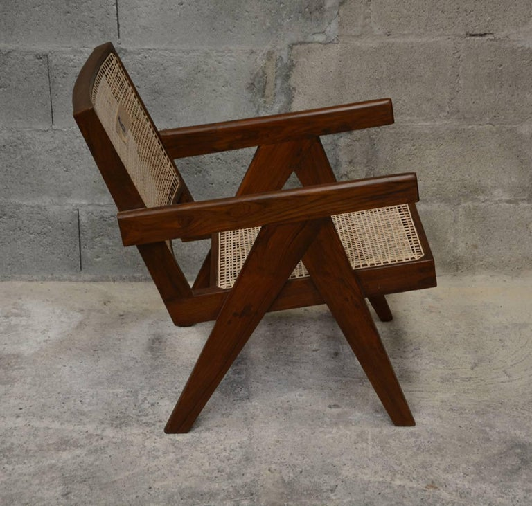 Pierre Jeanneret Pair of Easy Armchairs, circa 1955 For Sale 1