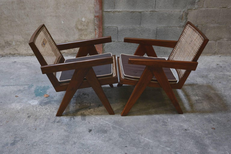 Pierre Jeanneret Pair of Easy Armchairs, circa 1955 For Sale 2