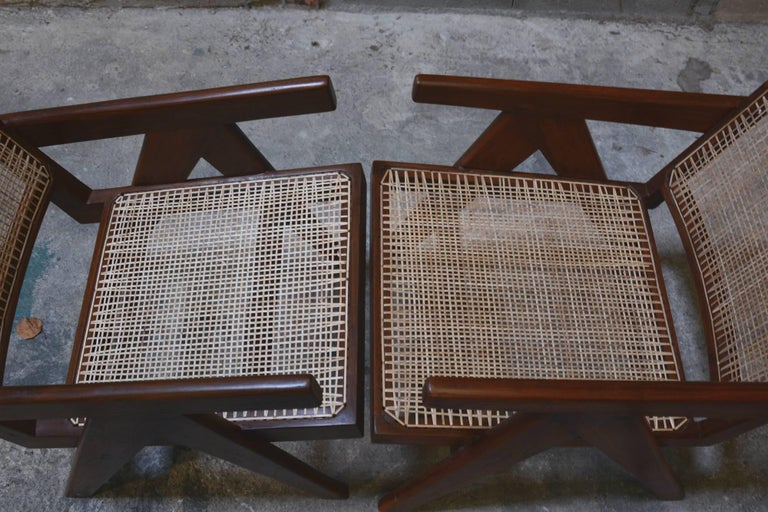 Pierre Jeanneret Pair of Easy Armchairs, circa 1955 For Sale 3
