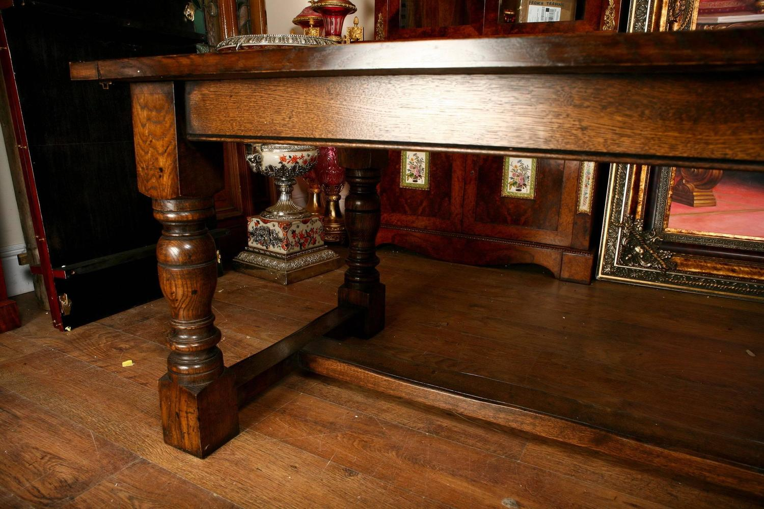 Extending Oak Refectory Table Farmhouse Dining Table For Sale at 1stdibs