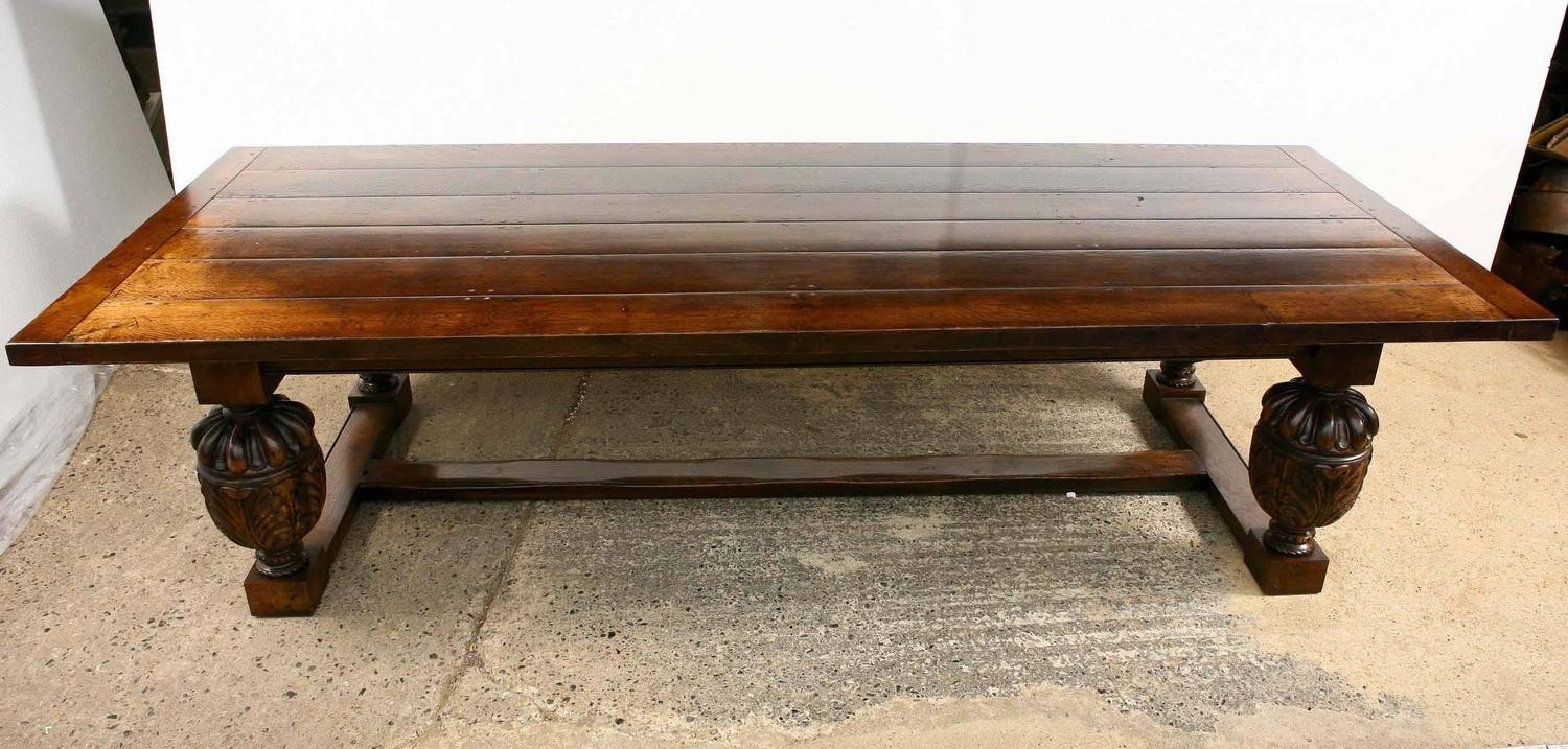 Large French Farmhouse Refectory Oak Table Dining For Sale