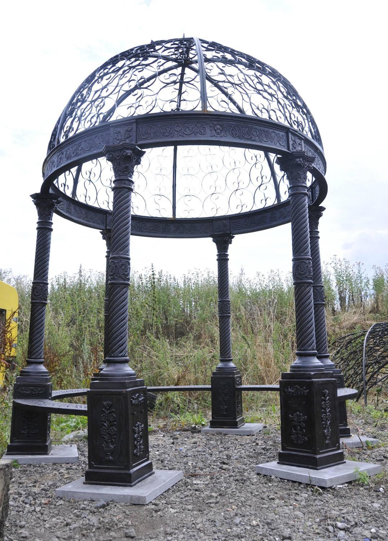 Large Victorian Cast Iron Gazebo Architectural Garden Seat