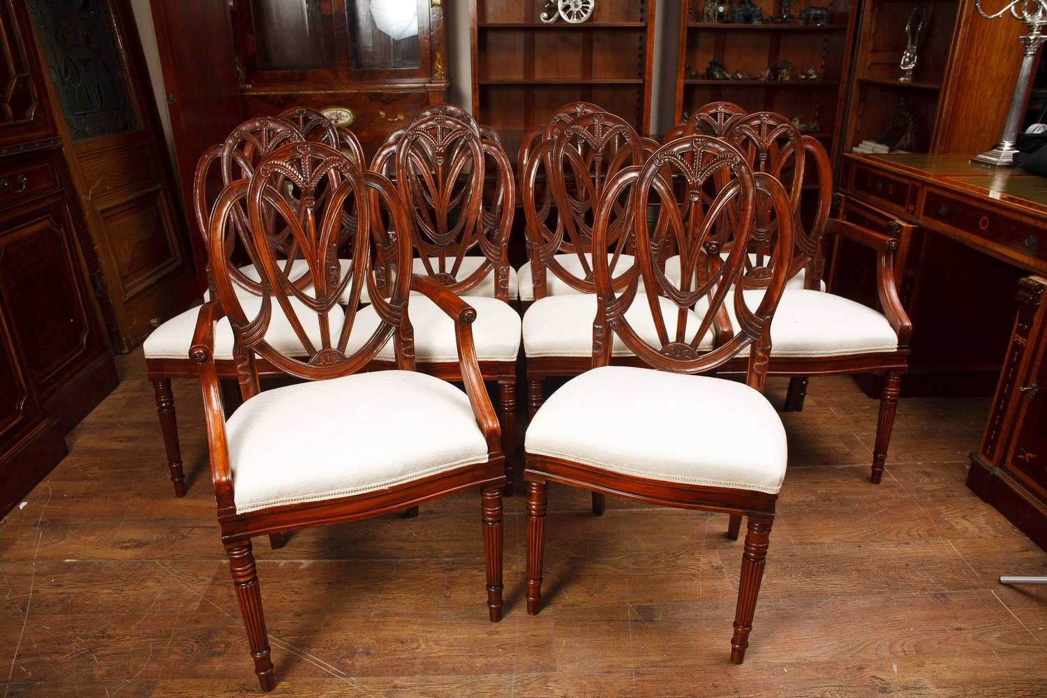 Set of mahogany hepplewhite style dining chairs for sale for Hepplewhite bedrooms