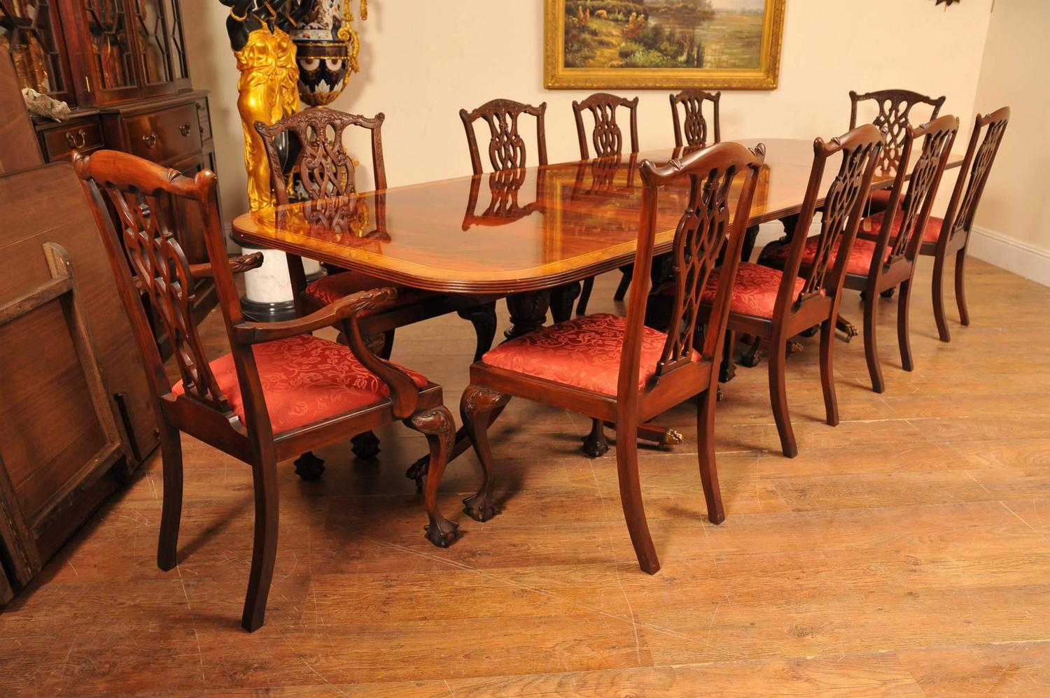 Regency style dining set pedestal table and ten for Pedestal dining table and chairs