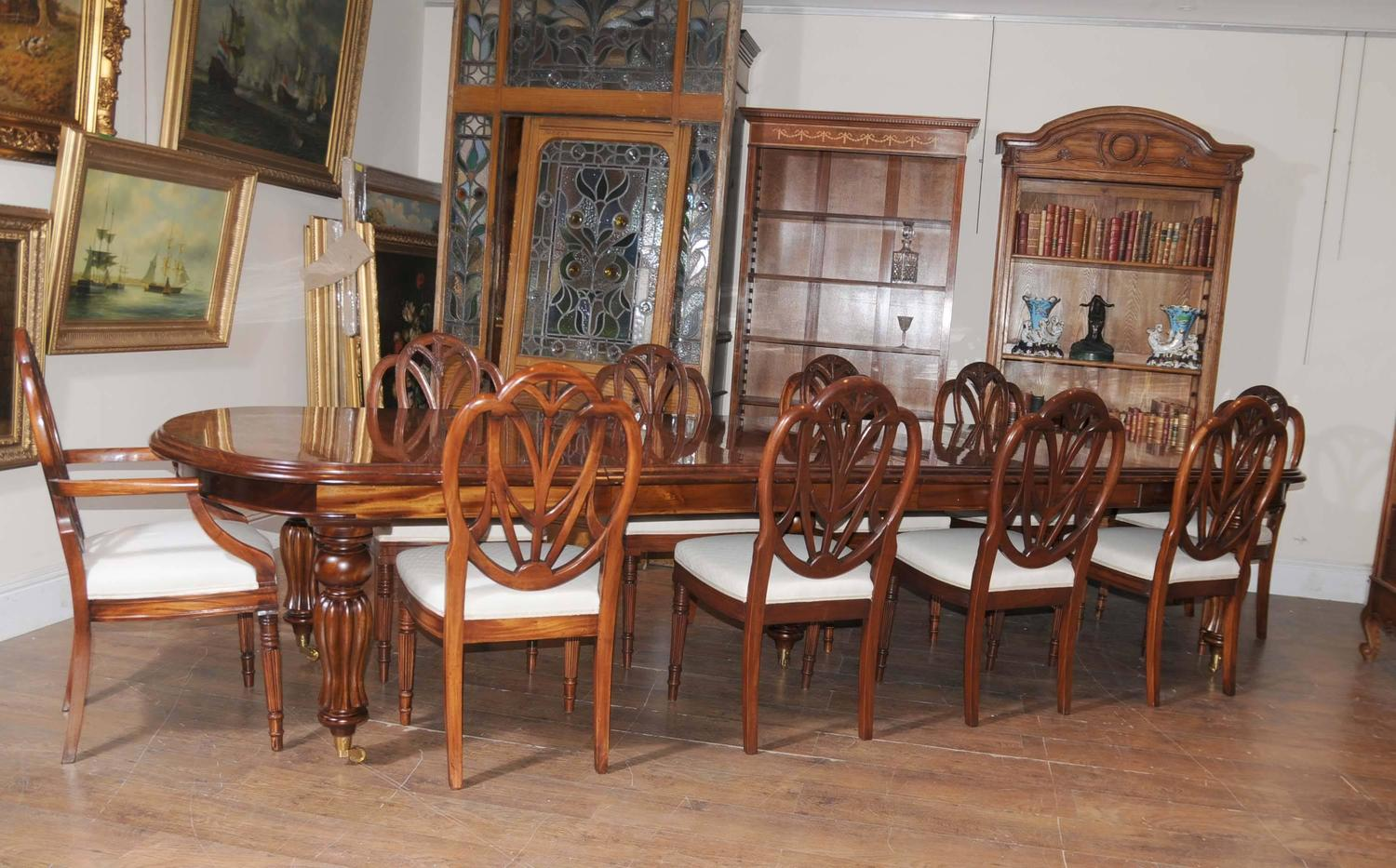 Victorian style dining table set with hepplewhite chairs for Victorian dining room