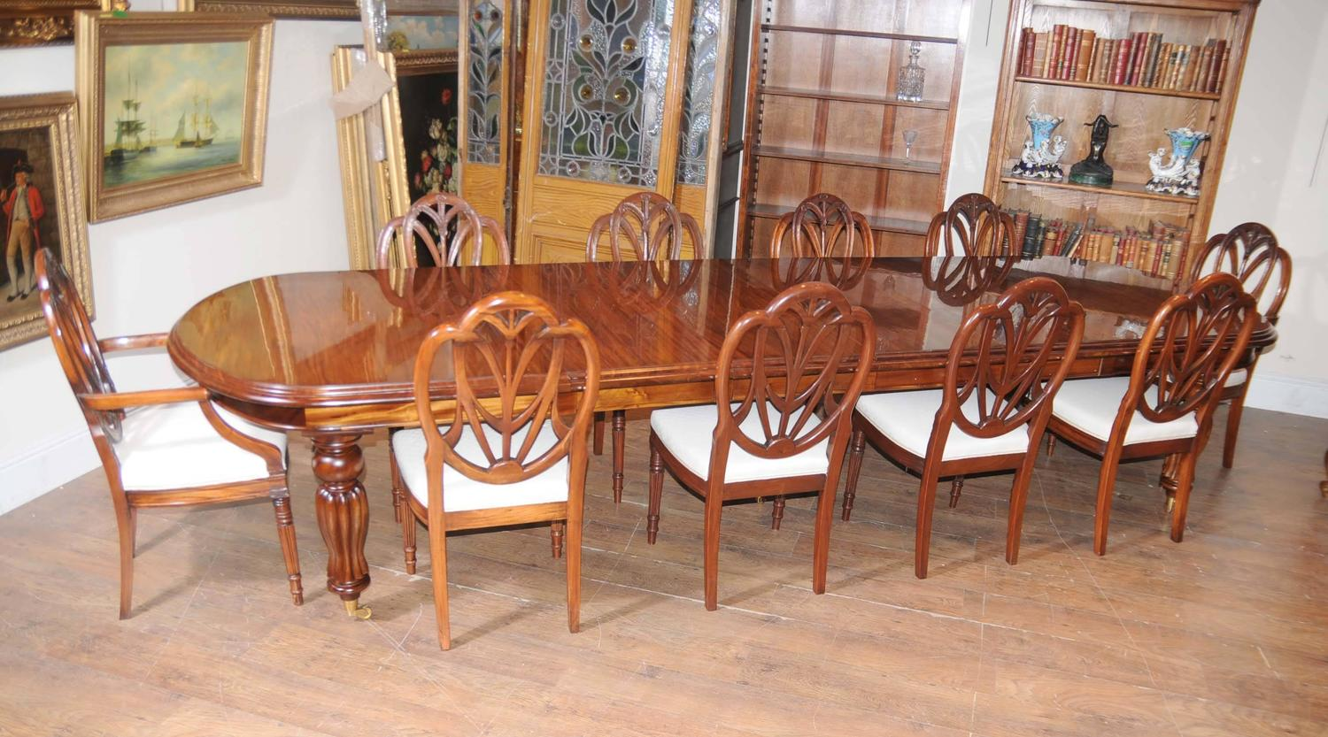 victorian style dining table set with hepplewhite chairs