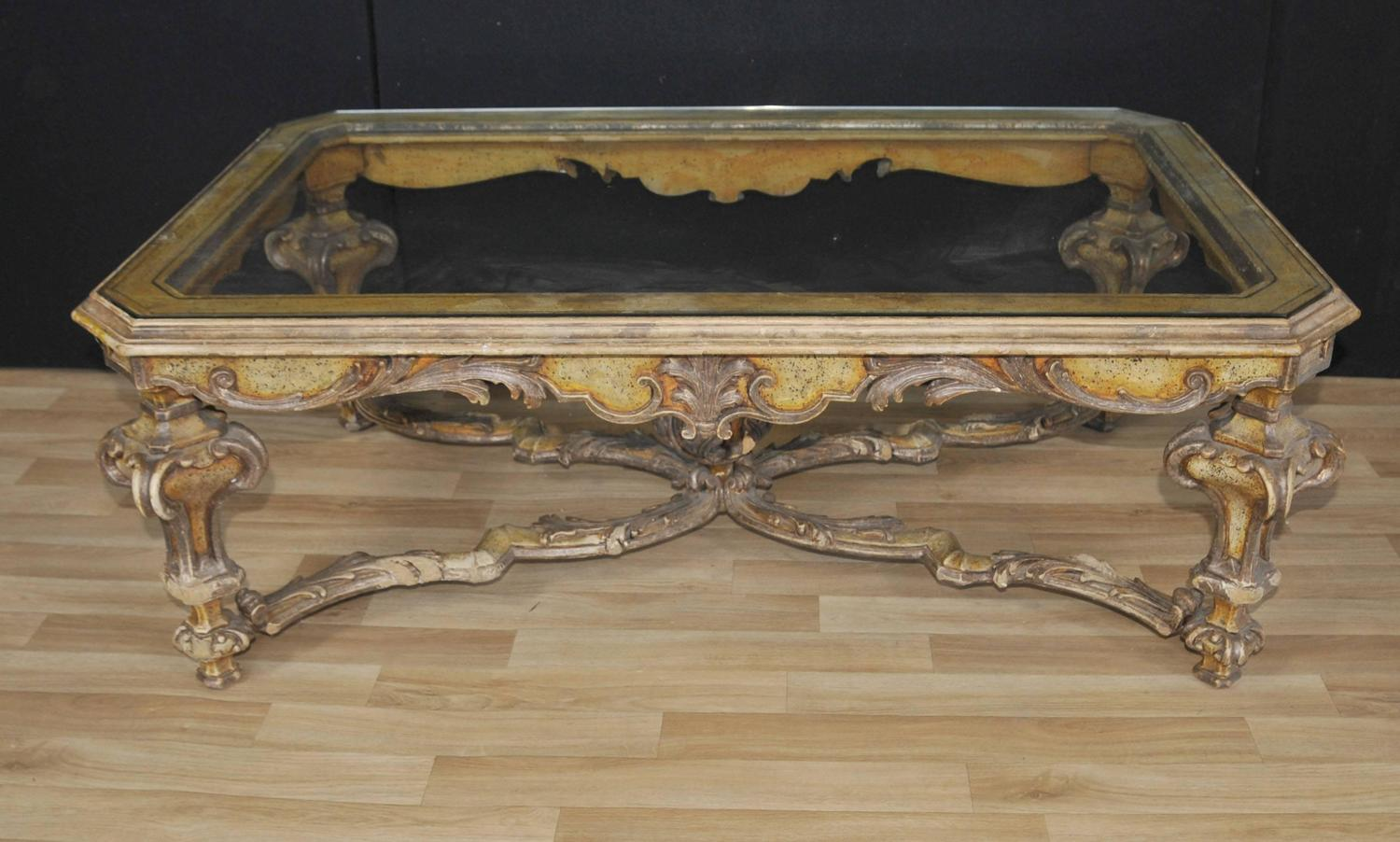 Italian painted baroque style coffee table with glass top for sale at 1stdibs Tuscan style coffee table