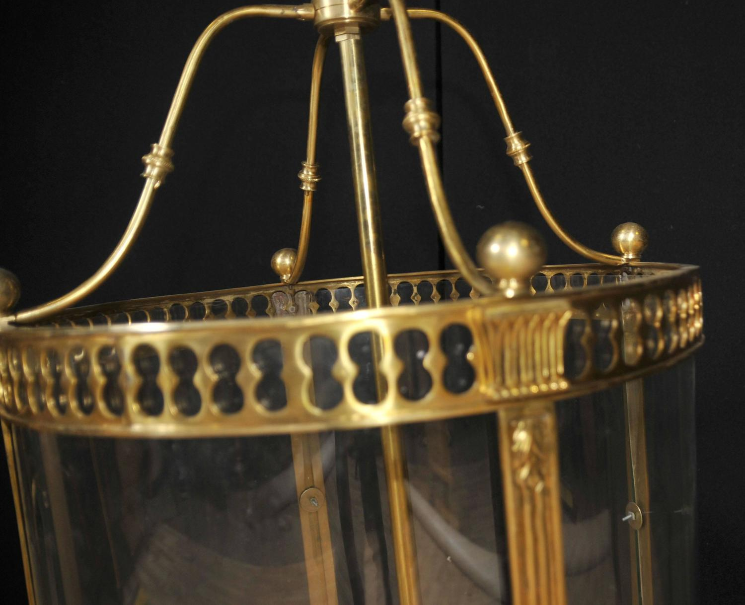 French Empire Style Brass Lantern Glass Chandelier For